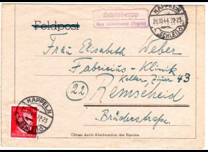 DR 1944, Landpost Stpl. Schörderup über Süderbrarup (Angeln) auf Brief m. 12 Pf.