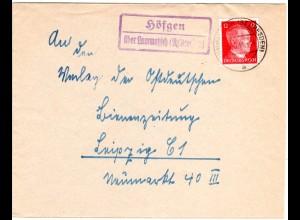 DR 1944, Landpost Stpl. HÖFGEN über Lommatzsch (Bz Dresden) auf Brief m. 12 Pf.