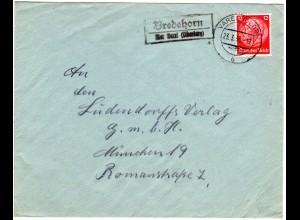 DR 1936, Landpost Stpl. BREDEHORN über Varel (Oldenburg) auf Brief m. 12 Pf.