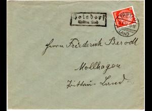 DR 1933, Landpost Stpl. HOISDORF über Trittau Land auf Brief m. 12 Pf.