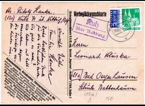 BRD 1949, Landpost Stpl. KULZ über Nabburg auf Karte m. 10 Pf.+2 Pf. Notopfer