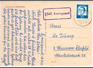 BRD 1963, Landpost Stpl. 2341 KRONSGAARD auf AK m. 15 Pf.