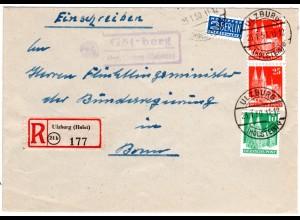 BRD 1950, Landpost Stpl. GÖTZBERG über Ulzburg auf Einschreiben Brief