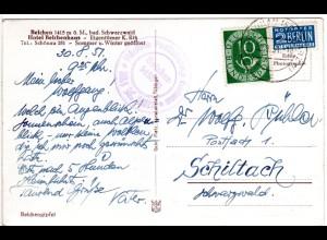 BRD 1951, BELCHEN Höchste Posthilfstelle Badens auf AK m. 10 Pf u. Stpl. Schönau