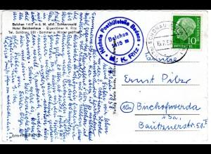 BRD 1958, BELCHEN Höchste Posthilfstelle Badens auf AK m. 10 Pf u. Stpl. Schönau