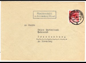 DDR 1956, Landpost Stpl. RADEWEGE üb. Brandenburg (Havel) auf Brief m. 20 Pf.