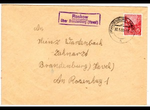 DDR 1956, Landpost Stpl. ROSKOW üb. Brandenburg (Havel) auf Brief m. 20 Pf.