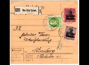 Bayern 1920, 5+ Germania Freistaat 40+80 Pf. auf Paketkarte v. NEU-ULM