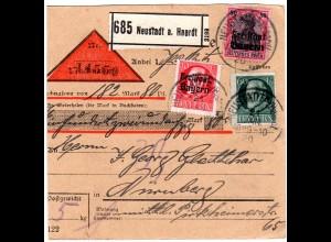 Bayern 1920, 60+Freistaat 10+80 Pf. auf Nachnahme Paketkarte v. NEUSTADT Haardt