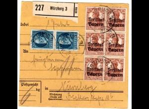 Bayern 1920, Paar 20+Germania Freistaat 6er-Bl. 35 Pf auf Paketkarte v. Würzburg