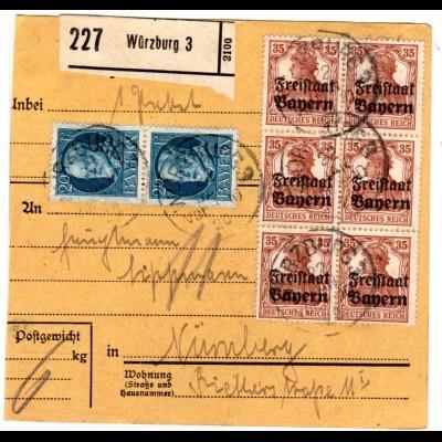 Bayern 1920, 5+40 Pf. Volks-+Freistaat 80 Pf. auf Paketkarte v. NEUBURG a. KAMEL