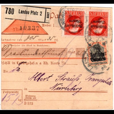 Bayern 1920, Paar 3 Mk. Volks-+Freistaat 25 Pf. auf Paketkarte v. LANDAU Pfalz