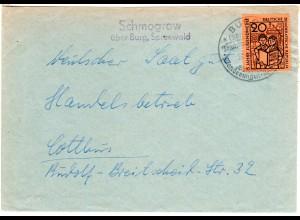 DDR 1962, Landpost Stpl. SCHMOGROW üb. Burg, Spreewald auf Brief m. 20 Pf.