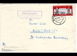DDR 1961, Landpost Stpl. BENDELIN üb. GLÖWEN auf Brief m. 20 Pf.