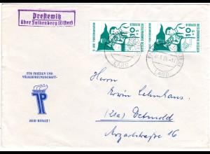 DDR 1959, Landpost Stpl. PRESTEWITZ über Falkenberg auf Brief m. 2x10 Pf.
