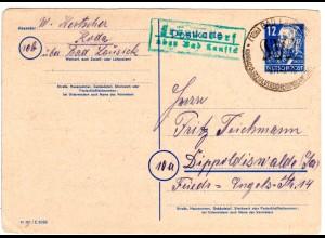 DDR 1949, Landpost Stpl. FRAUENDORF über Bad Lansick auf 12 Pf. Ganzsache