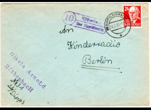 DDR 1950, Landpost Stpl. 10 RÖTHENBACH über Dippoldiswalde auf Brief m. 24 Pf.