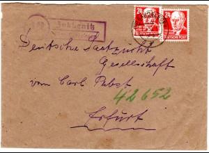 DDR 1950, Landpost Stpl. ZOBBENITZ über Gardelegen auf Brief m. 2x24 Pf.
