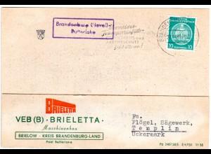 DDR 1960, Landpost Stpl. Brandenburg (Havel) BUTTERLAKE auf Karte m.10 Pf.