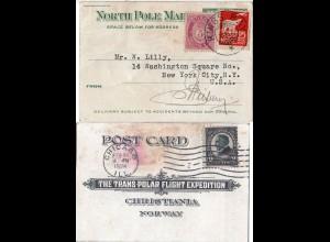 Norwegen 1925, US North Pole Mail Karte v. Chicago, zurück v. KINGS BAY