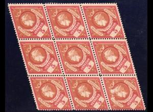 Bochum, gez. 5 Pf. Merkur Ausgabe 1887, ungebr. 9er-Block