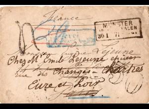 NDP 1871, Feldpost Brief v. Münster m. Porto Nachsendung in Frankreich