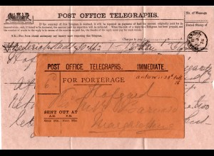 GB 1876, telegram from Norway with INGATESTONE cds and official envelope