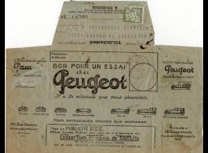 Frankreich 1925, 20 C. Porto auf Telegramm v. Strassbourg m. Automobil Abb.