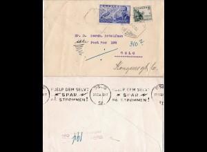 Spanien 1951, 1 Pta.+15 C. auf unzustellbarem Luftpost Brief n. Oslo, Norwegen