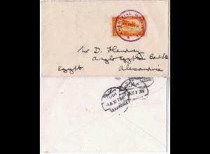 Ägypten 1932, Schiffspost Stpl. KHEDIVAL MAIL LINE auf Brief m. Marokko 5 C.