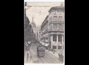 Italien, Mailand Milano, Tram Bahn m. Werbung, sw AK. #19