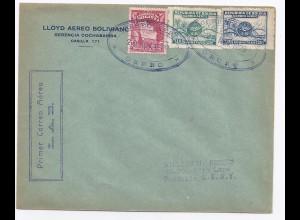 Bolivien 1929, Erstflug Brief Oruro - La Paz mit Luftpost Marken. #1566