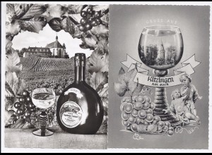 Kitizingen, Volkach, 2 sw AK mit Wein Motiven. #107
