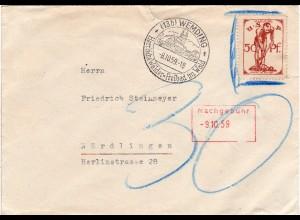 BRD 1959, Porto Brief v. Wemding m. USP Wahlfond Propaganda- statt Briefmarke