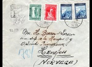 Türkei 1930, 4 Marken auf Einschreiben Brief v. BEYOGLU n. Hönefoss, Norwegen
