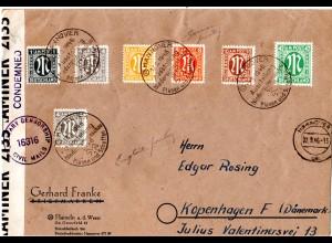 1946, selt. Zensur-L1 CONDEMNED auf Brief m. 7 AM-Post Marken v. Hannover n. DK