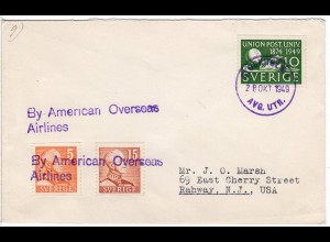 Schweden 1949, By American Overseas Airlines cover from Stockholm to US