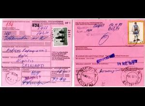 Schweden 1973, 3,50 Kr. auf Internat. Postanweisung m. rücks. Griechenland 2 Dr.