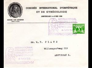 NL 1938, Brief m. van Deventer Gynäkologie + Geburtshilfe Kongress Sondertstpl.