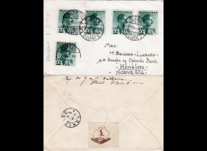 Rumänien 1935, MeF 5x2 L. auf Brief v. Ploesti m. Kangaroo C & E Club Vignette