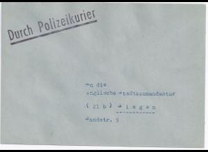 schwarz DURCH POLIZEI KURIER , Brief v. Polizei-Station Kreuztal n. Siegen.#693