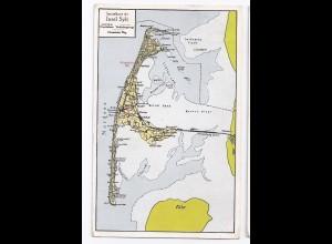 Insel Sylt, gebr. Farb Ak m. Hindenburg Damm..#216