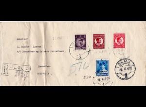 Rumänien 1930, 4 Marken auf Einschreiben Brief v. CLUJI n. Norwegen