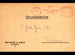 Danzig 1929, 3 Pf. Maschinen Firmen Freistpl. Behnke & Sieg auf Drucksache Brief