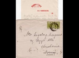 Ceylon 1921, Paar 10 C auf Brief n. Norwegen m. Inhalt BOBBY LINE S.S. YORKSHIRE