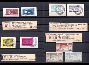 9 Raketenpost Marken, 6 Briefstücke u. 3 Werte WHW ungebr.
