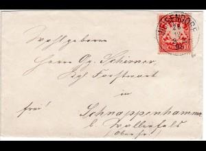 Bayern 1898, K1 WEISENDORF auf Brief m. 10 Pf. n. Schnappenhammer b. Wallenfels