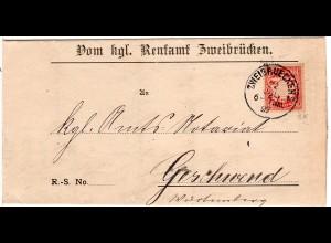 Bayern 1897, K1 ZWEIBRUECKEN auf Amtsbrief m. 10 Pf. n. Geschwend Württemberg