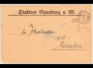 DR 1923, Gebühr bezahlt-Brief v. Stadtrat NEUNBURG v. Wald n. München