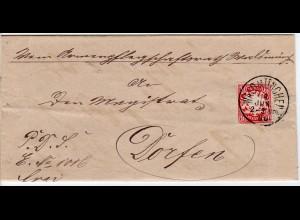 Bayern 1886, 10 Pf. auf Brief v. K1 WALDMÜNCHEN n. Dorfen